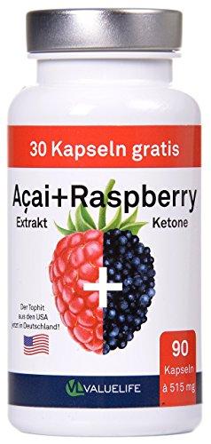 Acai Berry + Raspberry Ketone + Colanuss + Folsäure – Pro Fettverbrennung – Pro Stoffwechsel – Pro Wohlbefinden – 90 Kapseln à 515mg (1*46,4g)