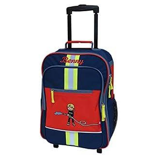 Sigikid-Kinder-Rollkoffer-mit-Namen-bestickt-40-cm-x-17-cm-x-30-cm-dunkelblau-rot-mit-Feuerwehr-Motiv-Frido-Firefighter-Reisegepck-Trolley-personalisiert-mit-Reflektor-Streifen