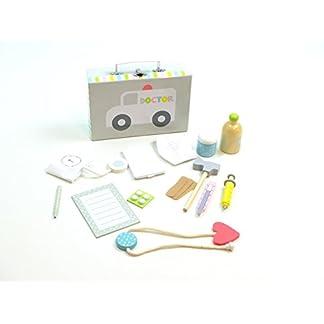 Doktor-Spiel-Set-im-Koffer-14-teiliges-Zubehr-Set-aus-Holz-Koffer-mit-Metallgriff-Metallverschlu-Mae-des-Koffers-23x15x7-cm
