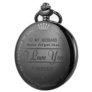 Personalisierte-Taschenuhr-Gravierte-Graviert-Herren-to-Husband-zu-Ehemann-mit-Kette-SIBOSUN-Uhr-Quarz-Geschenk