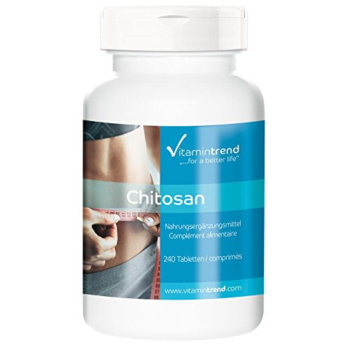 Chitosan 500mg, hochdosiert, Fettblocker, natürlicher Fettbinder, ohne Magnesiumstearat, 240 Chitosan-Tabletten, für die Verdauung und eine schlanke Linie, fördert das Sättigungsgefühl