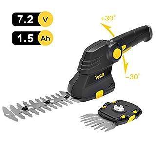 Akku-Gras-und-Strauchschere-72V-TECCPO-Akku-Gras-und-Strauchschere-Set-Isio-15Ah-USB-schnell-Laden-80min-drehbarer-Griff-Schnittbreite-90mm-Grasschere-Strauchschere-2-in-einem-TDGS03G