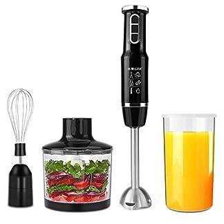 Stabmixer-750-Watt-4-in-1-Elektro-Multifunktions-Stabmixer-Zubehr-Set-mit-Schneebesen-500-ml-Zerhackerschale-und-600-ml-Behlter-fr-Babynahrung-Shakes-Smoothies-Saucen-Suppen-und-Mehr