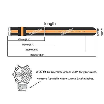 Randon-Premium-Uhrenarmband-Nylon-Edelstahl-Schnalle-Wahl-der-Farbe-Breite-20-mm-22-mm-24-mm