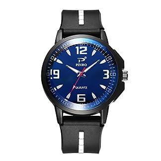 Hukz-HerrenuhrMann-weiche-Silikonkautschuk-Bgel-Sport-Mode-Uhr-simulierte-Quarz-UhrRunde-Silikon-Armbanduhr-aus-Glas-mit-dreieckiger-Nagel-Skala