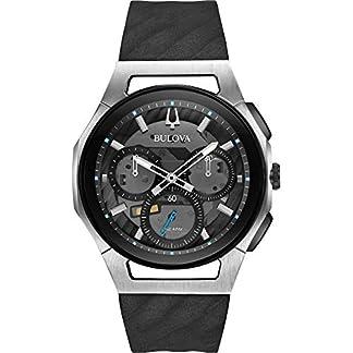 Bulova-Herren-Chronograph-Quarz-Uhr-mit-Gummi-Armband-98A161