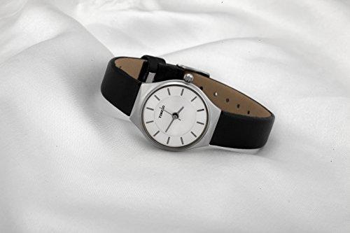 TIME100-Muttertag-Fein-Zifferblatt-Damenuhr-Quarz-Analog-Armbanduhr-Echtes-Leder-Schwarz-W50237L01A