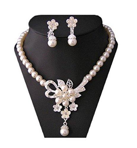 Sarahmi® Perlen Schmuck Set Brautschmuck Strass Perlen Hochzeits Schmuck Hochzeitsset