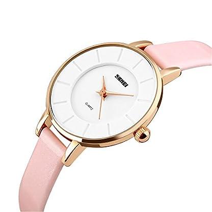Mit Pink Quarz Sportuhr Wasserdicht Elegant Uhr Armband Armbanduhr Analog Iwatch Leder Damen 30m cKl3F1TJ