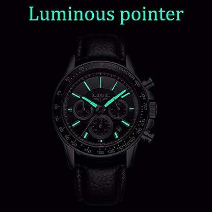Uhren-HerrenLIGE-Herren-Wasserdicht-Chronograph-Sport-Analog-Quarz-Uhr-Ziffernblatt-Schwarz-Datum-Mode-Casual-Kleid-mit-Leder-Armband-LG0222C