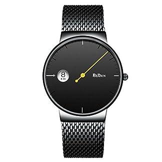 Souarts-Herren-Armbanduhr-Einfach-Mesh-Metallarmband-Casual-Analoge-Quarz-Wasserdicht-Datum-Kalender-Damenuhr-Herrenuhr-Schwarz