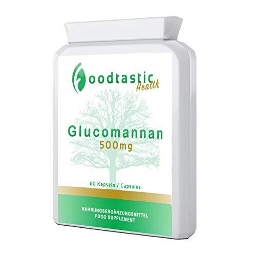 Foodtastic Glucomannan Kapseln hochdosiert [3000 mg Tagesdosis] 60 Kapseln   Konjakwurzel Pulver als pflanzlicher Ballaststoff   Sättigungskapseln, Abnehmhelfer, Diät Gewichtsverlust
