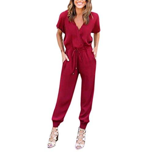 Frauen-Chiffon-Kurzarm-Clubwear-Playsuit-Venmo-Bodycon-Party-Jumpsuit-Jumpsuit-Einteiler-Overall-Hosenanzug-Lang-Langarm-Elegant-Romper-Playsuit-Pyjama-Gemhtlich-Wasserfallkragen-Rckenfrei