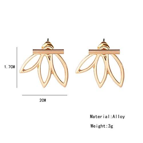 3 Paar Lotus-Blumen-Ohrringe leichte Ohr-Stulpe-Bolzen-Jacken-Ohrringe Elegantes modernes bestes Geschenk für Frauen-Mädchen