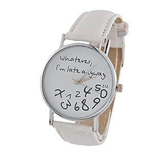MJARTORIA-Damen-Armbanduhr-Whatever-I-am-late-anyway-Analog-Quarz-Damenuhr-Mdchen-UHr-Lederarmband-Wei-24cm