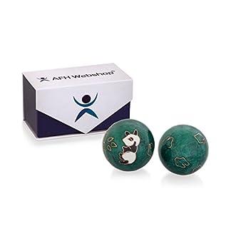 Meditation-Qi-Gong-Kugel-Paar-mit-Klangwerk-Klangkugeln-Yin-Yan-Design-PANDA-GRN-mit-hochwertiger-und-wiederverschliebaren-Aufbewahrung-Magnetbox