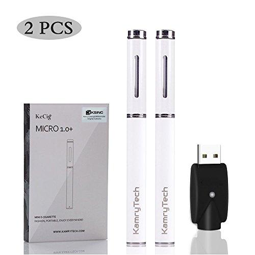 Kamry Micro Elektronische Zigarette Starter Kit mit Wireless USB Ladegerät, 170mAh Akku Nur 10cm Pen E-Zigarette, Vape Mehr als 300 Puffs – 2pack, Without Tobacco, Free Nikotin