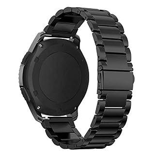Willingood-Gear-S3-Ersatz-Armband-solides-Edelstahl-Gliederarmband-fr-Gear-S3-Classic-Gear-S3-Frontier-mit-Faltschliesse-Metall-schwarz-mit-Wechsel-Kit