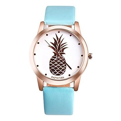MJARTORIA-Damen-Armbanduhr-Elegant-tropisch-Ananas-Rose-gold-Farbe-Analoge-Quarz-Uhr-Hellblau-Band