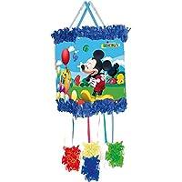 Pinata-MICKEY-MOUSE-als-Zugpinata-fr-bis-zu-7-Kinder-plus-Maske-Wird-mit-Sssigkeiten-oder-Spielen-gefllt-ca-28cm-Durchmesser-Piata-Mexiko-Kinder-Geburtstag-Kindergeburtstag-Spiele-Spass-Micky-Maus-Dis
