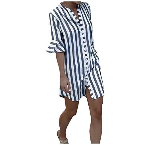 Damen-Shirt-Langer-Streifen-Mumuj-Fashion-Damen-Sommer-Herbst-Horn-rmel-Tops-Hemd-Mdchen-Coole-Button-Tank-Tops-Elegante-Freizeit-Langer-Rock-Lange-Bluse-Party-Kleid-Streetwear