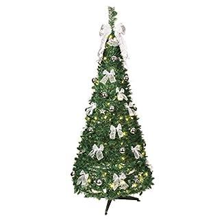 Best-Season-Dekorierter-LED-Tannenbaum-beleuchtet-circa-190-x-80-cm-mit-80-warmwhite-LED-mit-8-Funktionen-zusammenfaltbar-silberne-Dekoration-Vierfarb-Karton-603-92