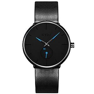 Alienwork-Unisex-Armbanduhr-Herren-Damen-Uhr-Edelstahl-Milanaise-Armband-Mesh-Metallband-Lederband-schwarz-Analog-Quarz-Herrenuhr-Damenuhr-Wasserdicht-Ultra-flach-dnn-Klassik