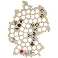 LAUBLUST-Bierkarte-aus-Holz-Deutschland-Karte-Design-44-x-33-x-06-cm-Natur-63-Fcher-Kronkorken-Sammler-als-Lustige-Geschenk-Idee