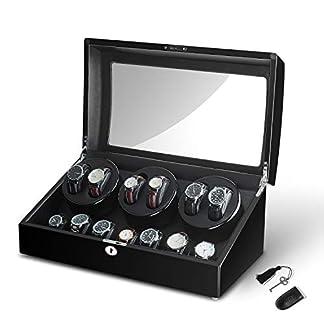Sepano-Automatischer-Uhrenbeweger-fr-6-Uhren-mit-7-Aufbewahrungsboxen-67-SchwarzDunkelbraun-Kstchen-Design-mit-Schlssel