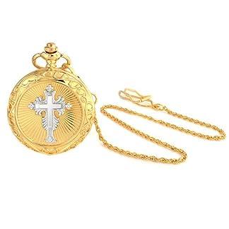 Bling-Jewelry-Zwei-Ton-religisen-Kreuz-rmische-Ziffer-weisses-Zifferblatt-Mens-Taschenuhr-Gold-Versilberte-Legierung-mit-Kette