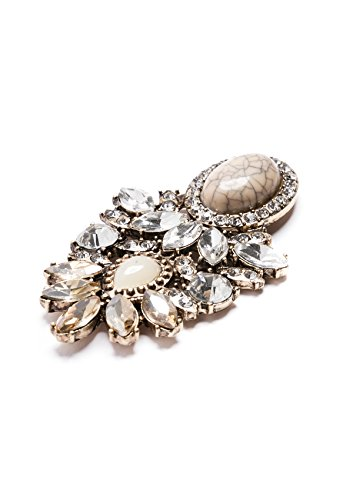 Happiness Boutique Damen Statement Ohrringe Strasssteine Silber Gold | Große XXL Ohrringe Marmor Modeschmuck nickelfrei