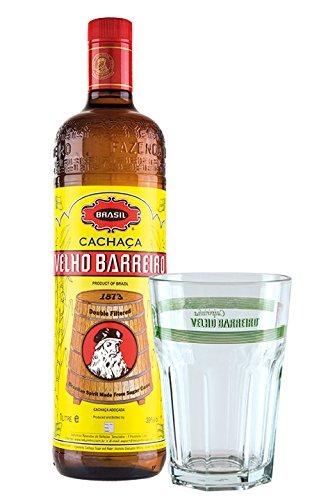 Cachaa-Velho-Barreiro-SILVER-1-L-Geschenk-Set-brasilianischer-Qualitts-Zuckerrohrrum-plus-1-Caipirinha-Glas-mit-VELHO-BARREIRO-Aufschrift