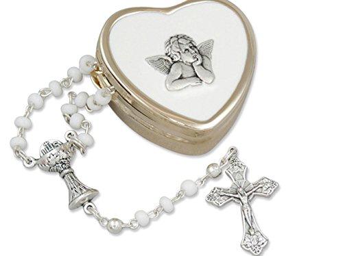 zu ersten heiligen Kommunion….zierlicher Rosenkranz im goldfarbenen Herzdöschen, Raphael Engel