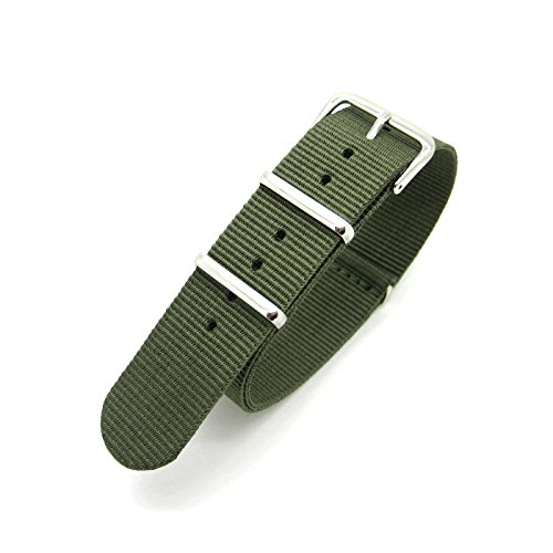 Olive-Grn-Infanterie-Military-Mod-NATO-Uhrenarmband-Nylon-Stoff-Generic-G10-4-Ringe-Band-Chrom-Schnalle