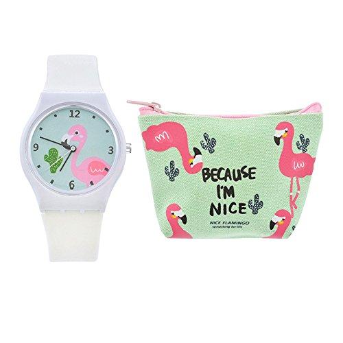 Luzoeo-Flamingo-Kinderuhr-Silikon-Armbanduhr-Kinder-Analog-Uhren-fr-Jungen-Mdchen-Cartoon-Armbanduhr-und-Brieftasche