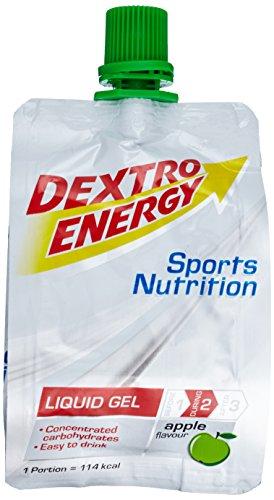 Dextro Energy Liquid Gel Apple / Flüssiges kohlenhydratreiches Konzentrat-Gel für Ausdauer- & Leistungs-Sportler – leicht trinkbar / 18 Beutel (18 x 60ml)