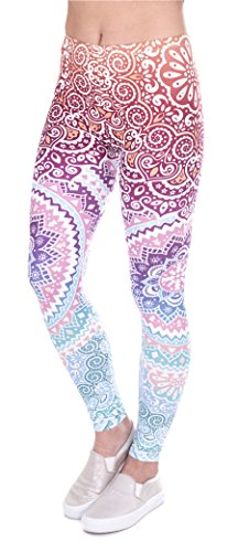 DD.UP Damen Strumpfhose Sport Print Yoga Leggings Workout Fitness Running Pants Mehrfarbig