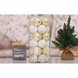 FeiliandaJJ-30PCS-Weihnachtskugel-Boxed-Bruchsicher-Wei-Gold-Kugel-Weihnachten-Deko-Anhnger-Christbaumkugeln-fr-Weihnachtsbaum-Party-Home-Hochzeit