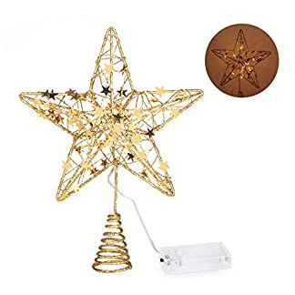 Anstore-Christbaumspitze-Stern-Metall-Weihnachtsbaumspitze-Baumspitze-Stern-mit-LED-Lichterkette-Batterienbetrieben-Treetop-Dekoration-31-cm-Gold