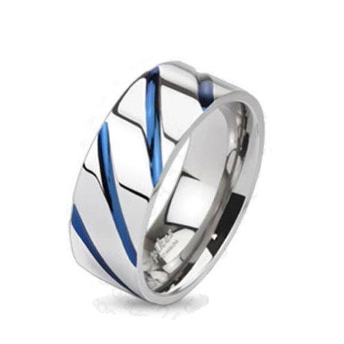 Paula & Fritz® Titan Ring silber blau Blue Stripe verfügbare Ringgrößen 47 (15) – 69 (22) R-TI-4381