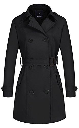 Wantdo Damen Mantel Zweireiher Lange Trenchcoat mit Gürtel