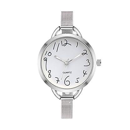 Souarts-Damen-Armbanduhr-Einfach-Mesh-Metallarmband-Zahl-Muster-Casual-Analoge-Quarz-Uhr-Silber-Farbe