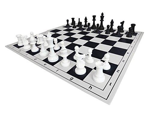 SchachQueen-Schachset-komplettes-Schachspiel-mit-Schachbrett-und-Schachfiguren-Plastik-Feldgre-57-mm-Knigshhe-97-mm-schwarzwei