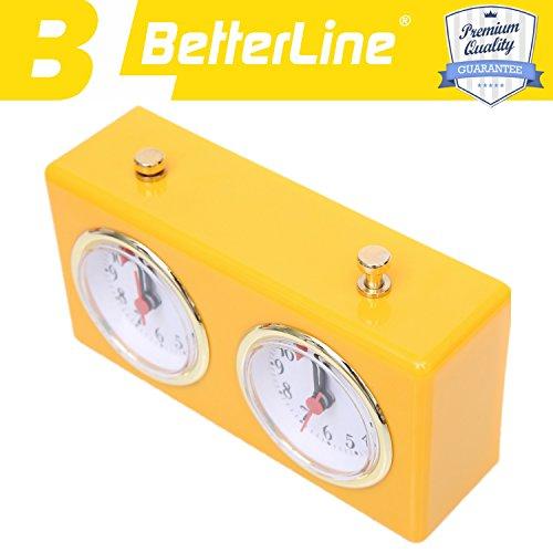 BETTERLINE-Retro-Glnzende-Gelb-Analoge-Schachuhr-Zeitgeber–Aufzieh-Mechanismus-Schachuhr-mit-groen-Zifferblttern-leicht-zu-lesen-keine-Batterie-erforderlich