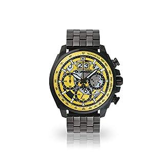 DETOMASO-LIVELLO-Herren-Armbanduhr-Chronograph-Analog-Quarz-Schwarzes-Edelstahl-Gehuse-Gelbes-Zifferblatt-Jetzt-mit-5-Jahre-Herstellergarantie