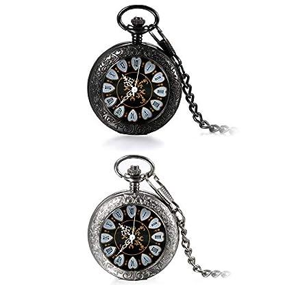 JewelryWe-Retro-Handaufzug-Mechanische-Taschenuhr-Vintage-Blumenmuster-Rmische-Ziffern-Uhr-Taschenuhren-mit-Kette-und-Geschenkbox-SchwarzSilber