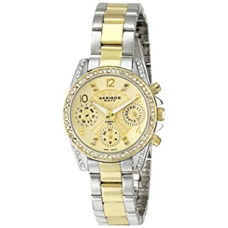 Akribos-XXIV-Damen-Lady-Diamond-Swiss-Quartz-Armbanduhr-mit-Edelstahl-Armband