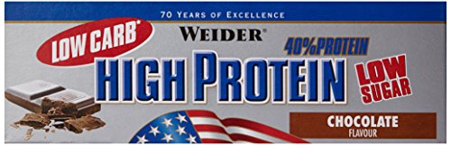 Weider Low Carb High Protein Bar, Schoko, 24 x 50 g (1 x 1.25 kg)