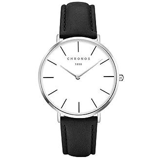 XLORDX-Classic-Damen-Ultra-Dnne-Elegant-Analoge-Quarz-Armbanduhr-Quarzuhr-und-Klassisch-Schwarz-Leder-Silber