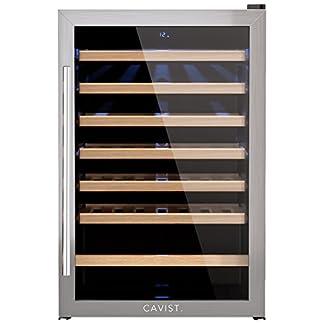 CAVIST-CAVIST48-Weinkhlschrank-48-Flaschen-130L-Kapazitt-6-Regale-aus-Holz-4C-bis-18C-LED-Anzeige-silber
